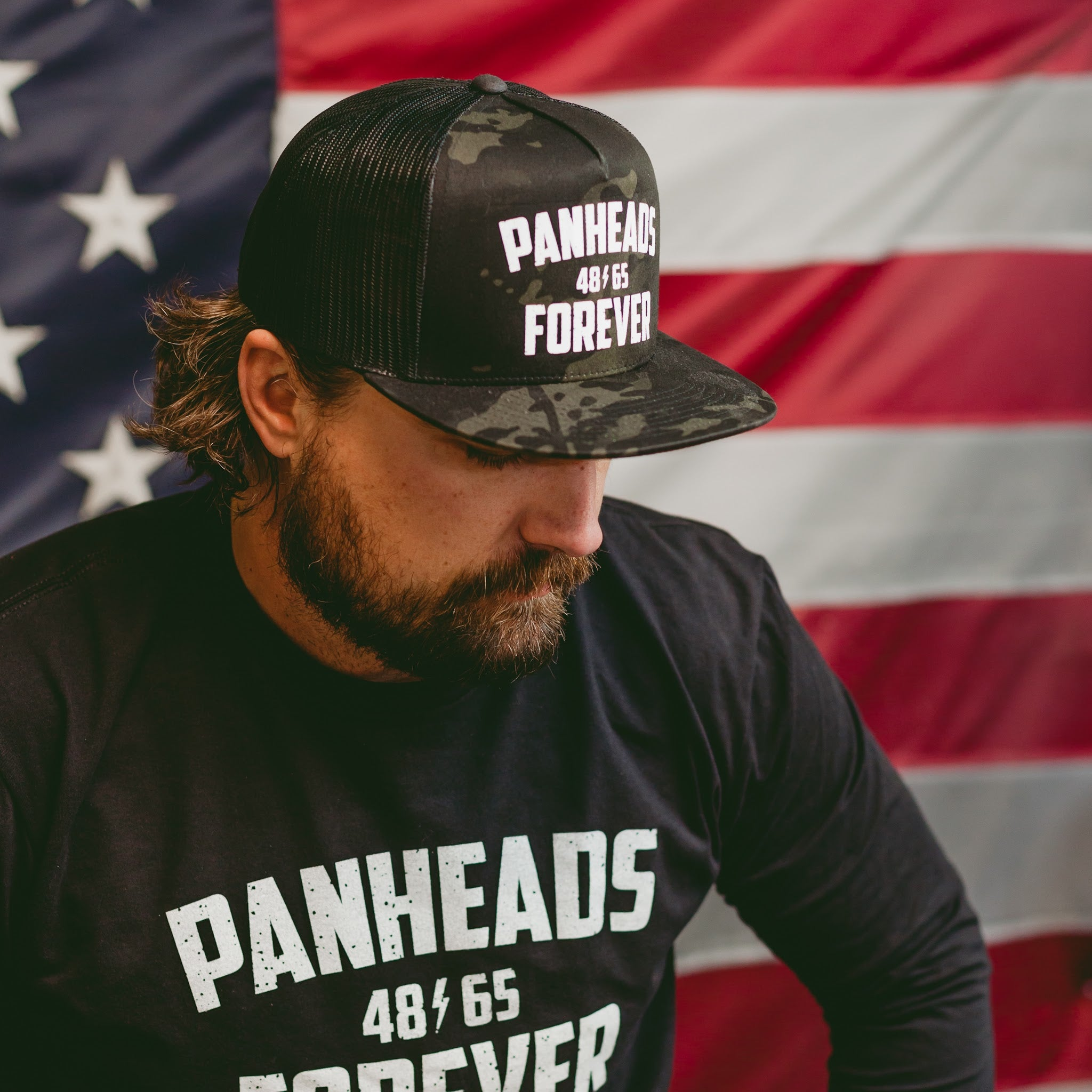 Panheads Forever 5-Panel Snap Back Hat Multicam BLK/BLK