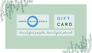Green Blue World gift card for any time of year or occasion: yoga gifts, kitchen gifts, natural cosmetics gifts, and more - give a gift to someone special, and the planet, with Green Blue World.