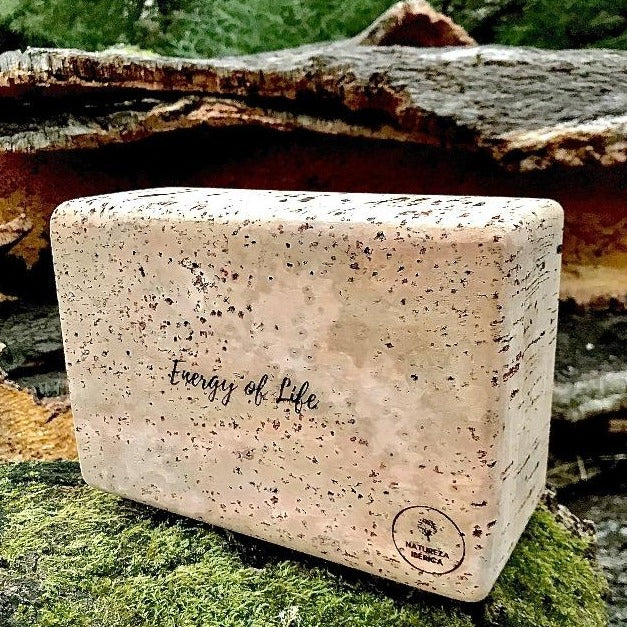 Large cork ecoyoga brick. Reversible design - one side totally natural, other side with