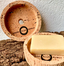 Load image into Gallery viewer, Little Cork Tray (with drainage hole), designed to help keep packaging-free natural cosmetics from getting too wet in the bathroom. GBW logo laser-etched under the central 1cm drainage hole.