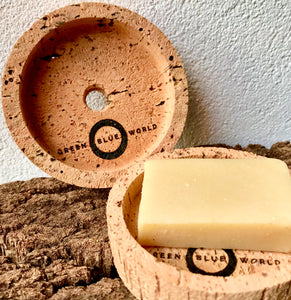 Little Cork Tray (with drainage hole), designed to help keep packaging-free natural cosmetics from getting too wet in the bathroom. GBW logo laser-etched under the central 1cm drainage hole.