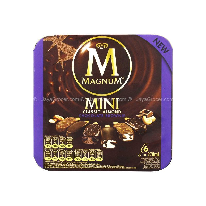 Wall's Magnum Mini Classic & Almond & Brownie Ice Cream 45ml x 6packs