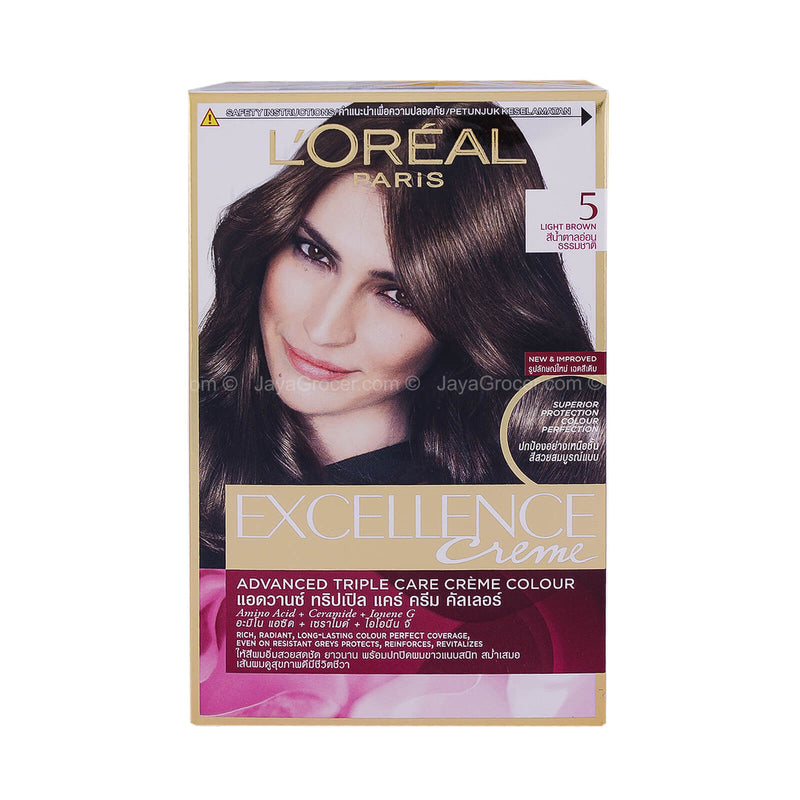 L' Oreal Paris Excellence Crème 5 Light Brown Hair Colour 1unit