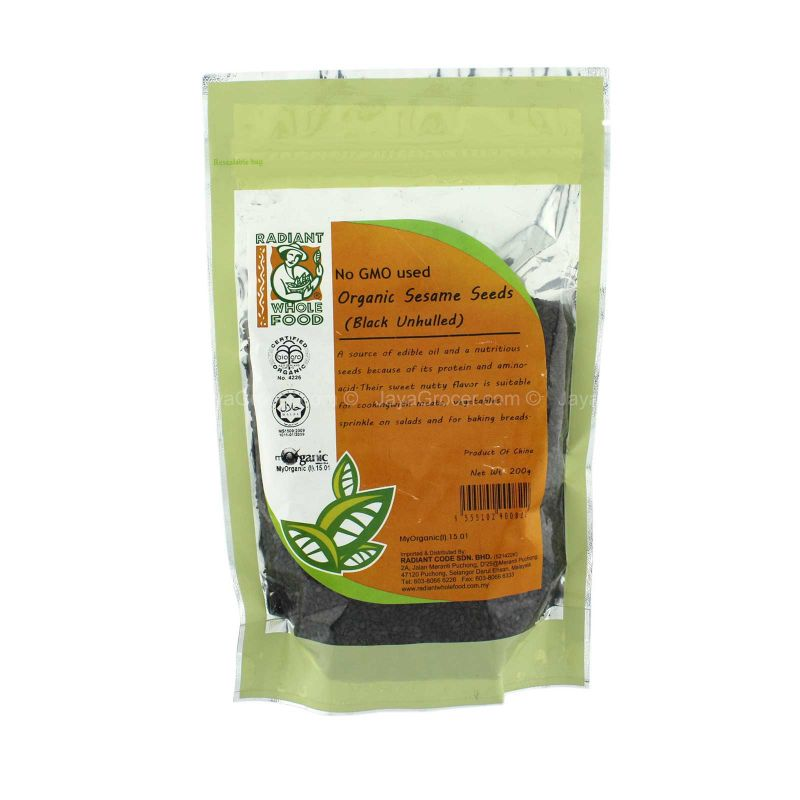 Radiant Whole Food Organic Sesame Seeds (Black Unhulled) 200g