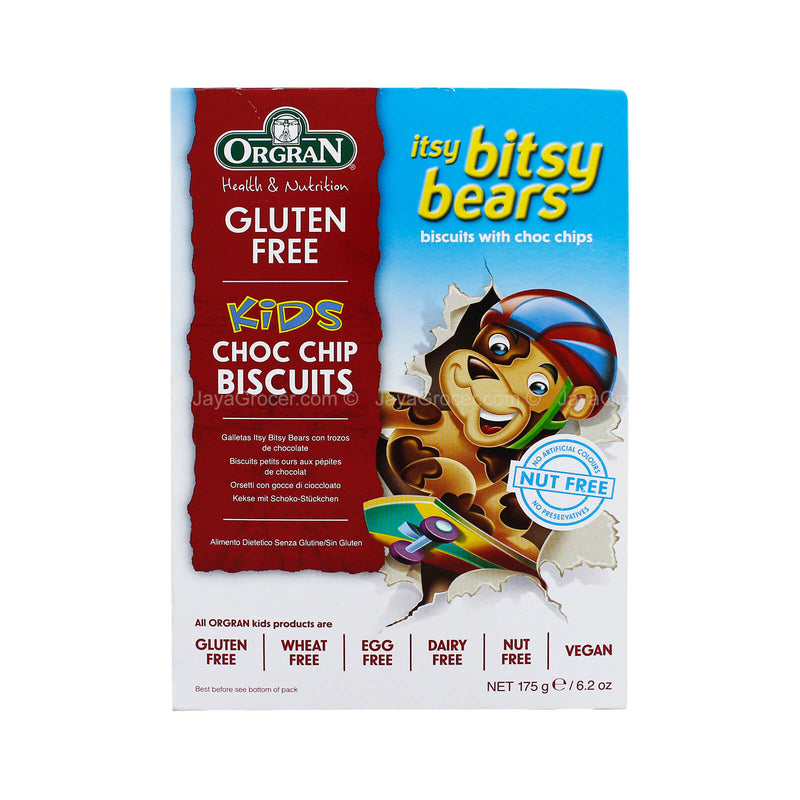 Orgran Health & Nutrition Kids Gluten Free Itsy Bitsy Bears Choc Chip Biscuits 175g