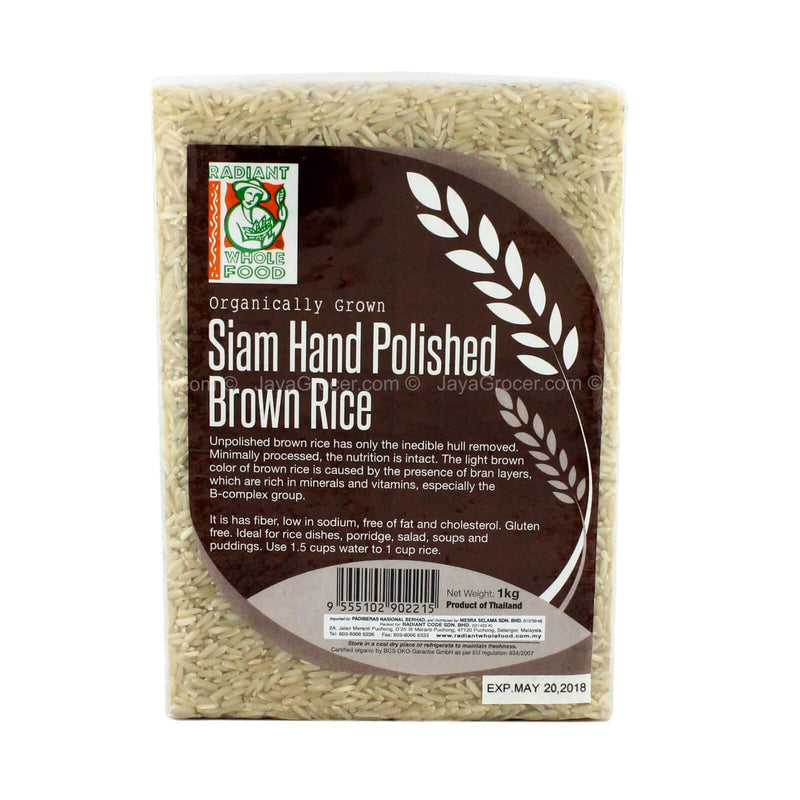 Radiant Whole Food Siam Hand Polished Organic Brown Rice 1kg