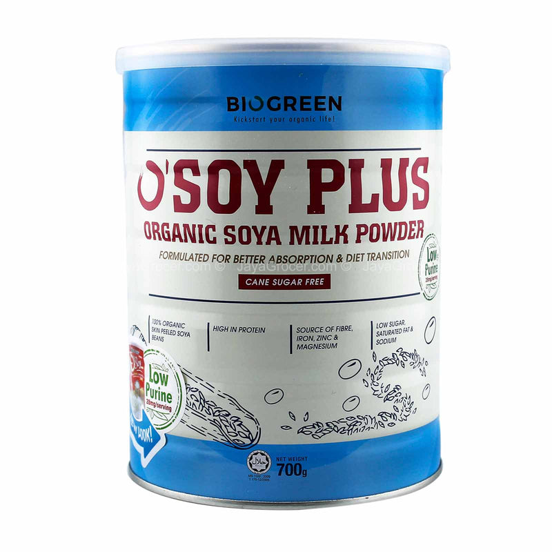 Biogreen O'Soy Plus Soy Milk Drink Mix (Cane Sugar Free) 700g