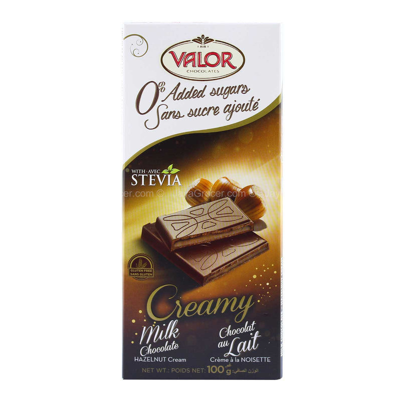 Valor 0% Added Sugar Creamy Milk Chocolate with Hazelnut Cream 100g