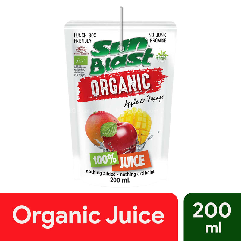 Sun Blast Organic 100% Juice Apple and Mango 200ml