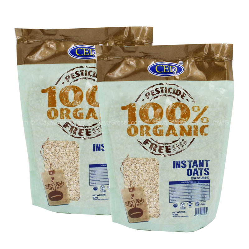 CED 100% Organic Instant Oats Twin Pack 500g x 2