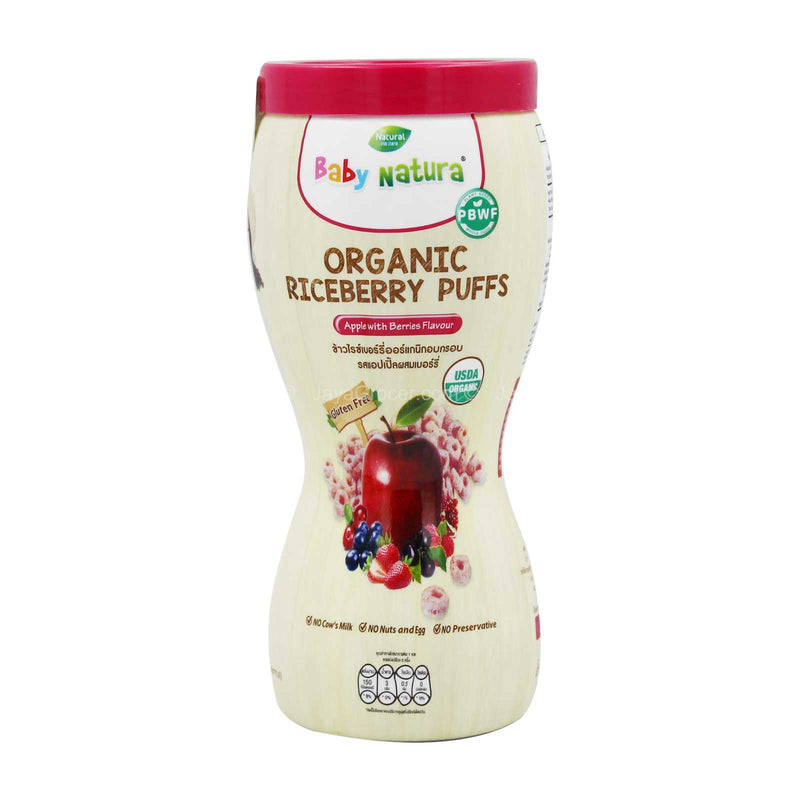 Baby Natura Organic Riceberry Puffs Apple with Berries Flavour 40g