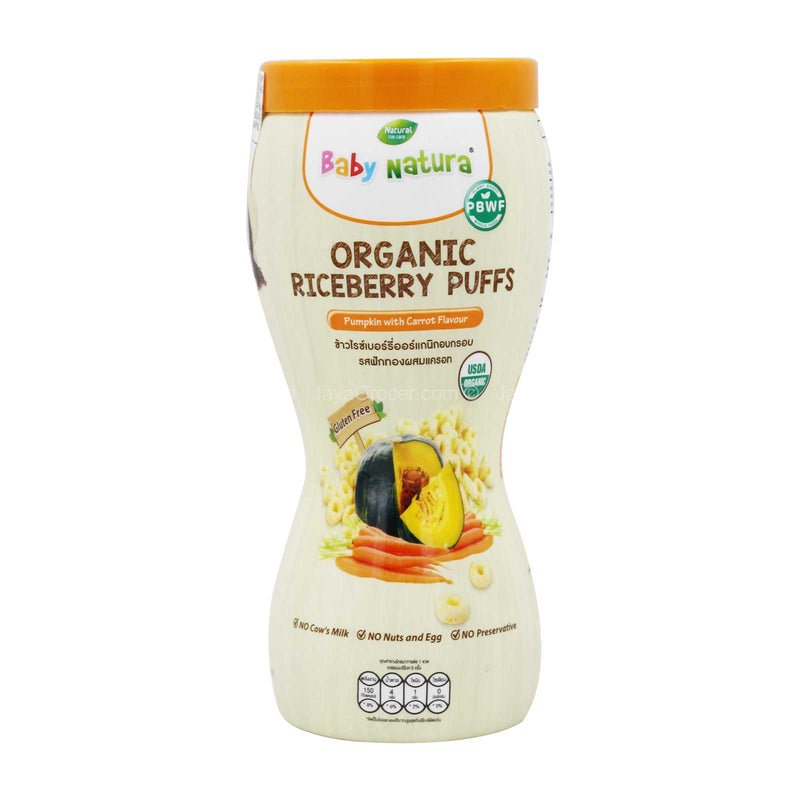 Baby Natura Organic Riceberry Puffs Pumpkin with Carrot Flavour 40g