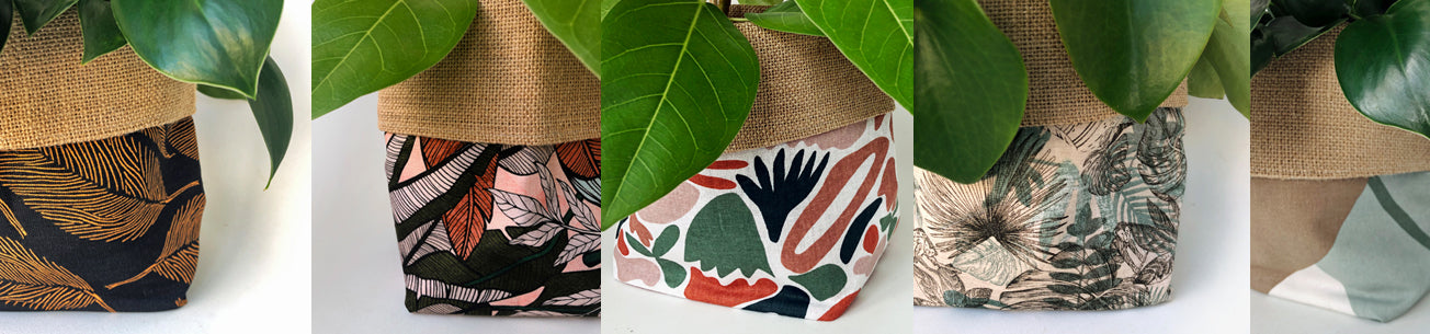 5 different fabric cover pot designs with plants in them made by orchid and fig made in nz