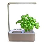 smart garden hydro 2.0 growing basil with grow light on