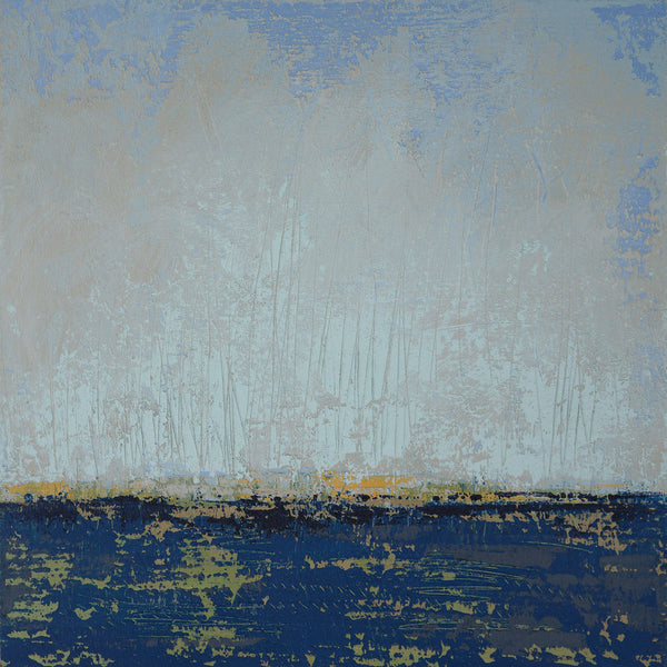 Blue coastal abstract landscape painting at sunrise.
