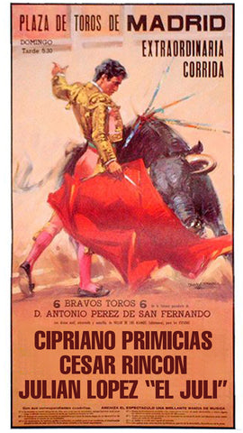 "Bullfighting poster with name ""Cipriano Primicias"""