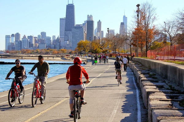 Cycling along Lakeshore Drive in Chicago.