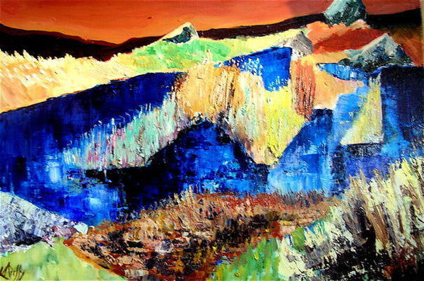 Connemara, bold abstract landscape painting by Mary Duffy