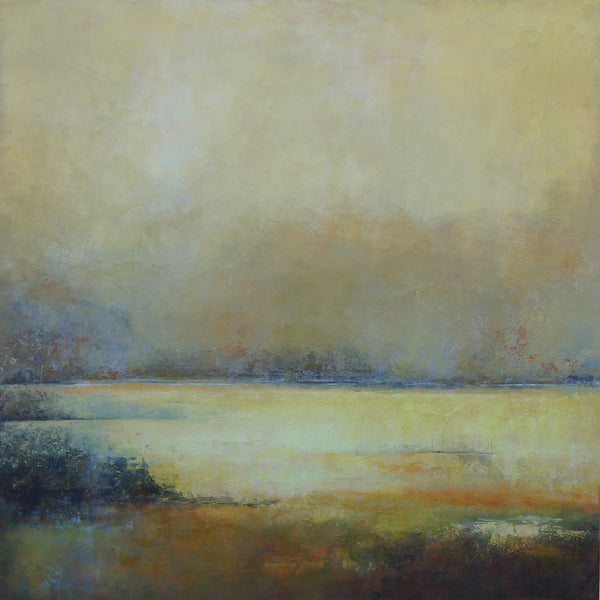 Yellow square abstract landscape painting with horizon