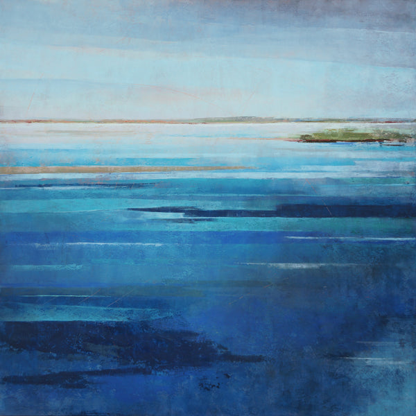 Blue square coastal abstract landscape painting.