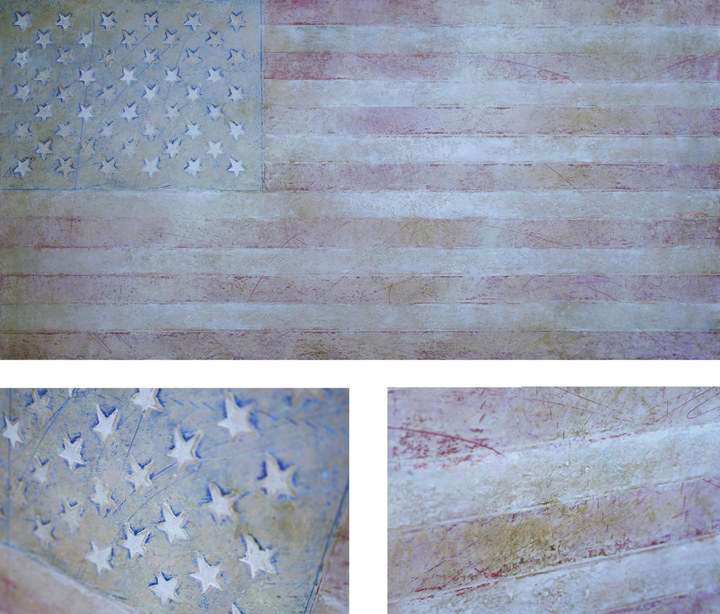 "Multi-layered American flag painting, ""Gloryland,"" oil/cold wax painting on panel"