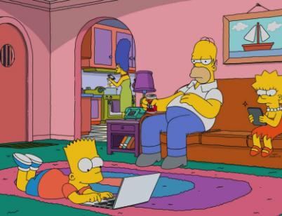 Homer Simpson lazily sits on the couch watching TV, surrounded by family.