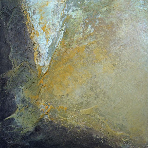 Yellow dijon-colored abstract painting resembling a rock wall with cracks.