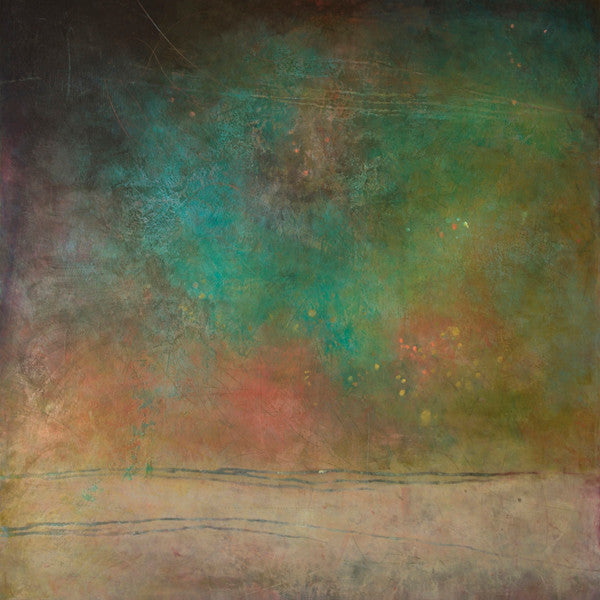 Atmospheric teal green square abstract painting