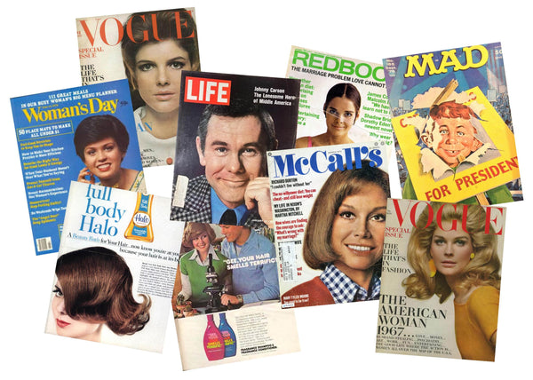 Group of vintage magazines from the 1960s and 1970s.