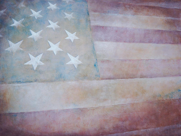 "American flag painting called ""New American,"" made of oil and cold wax medium."