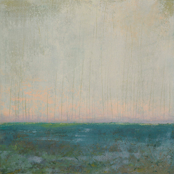 Abstract beach painting with salmon skies kissing bluegreen waters at the horizon.
