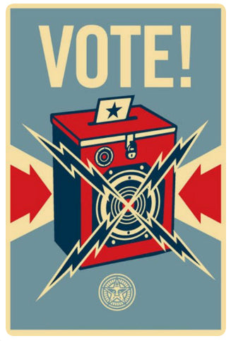 Vintage Vote poster with radio.