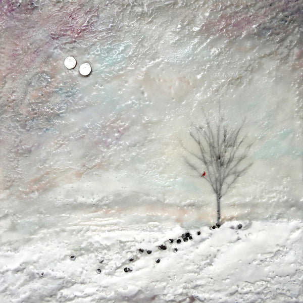 Encaustic painting of winter tree in snowy hillside.