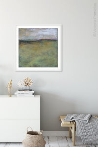 "Square abstract beach artwork ""Dijon Dunes,"" digital download by Victoria Primicias, decorates the foyer."