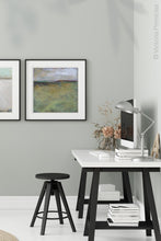 "Load image into Gallery viewer, Square abstract beach artwork ""Dijon Dunes,"" digital download by Victoria Primicias, decorates the office."
