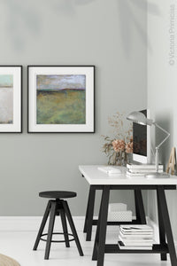 "Square abstract beach artwork ""Dijon Dunes,"" digital download by Victoria Primicias, decorates the office."
