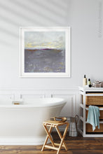 "Load image into Gallery viewer, Neutral color abstract coastal wall decor ""Fog Island,"" digital art by Victoria Primicias, decorates the bathroom."