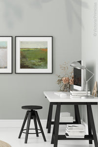 "Green abstract landscape painting ""Spring Envy,"" fine art print by Victoria Primicias, decorates the office."