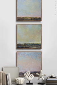 "Serene abstract landscape art ""Twilight Blush,"" metal print by Victoria Primicias, decorates the entryway."