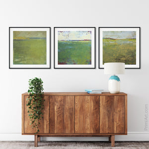 "Modern abstract landscape art ""Above Anything,"" downloadable art by Victoria Primicias, decorates the entryway."
