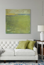 "Load image into Gallery viewer, Modern abstract landscape art ""Above Anything,"" digital art by Victoria Primicias, decorates the living room."