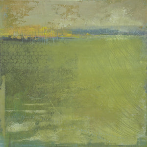"Yellow-green abstract landscape art ""Above Anything,"" metal print by Victoria Primicias"