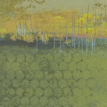 "Load image into Gallery viewer, Closeup detail of yellow-green abstract landscape painting ""Above Anything,"" wall art print by Victoria Primicias"