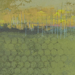 "Closeup detail of yellow-green abstract landscape painting ""Above Anything,"" wall art print by Victoria Primicias"
