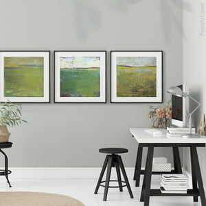 "Yellow-green abstract coastal wall art ""Above Anything,"" fine art print by Victoria Primicias, decorates the office."