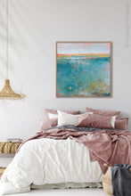"Load image into Gallery viewer, Teal abstract beach art ""Admiral Straits,"" digital print by Victoria Primicias, decorates the bedroom."