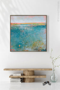 "Teal abstract ocean art ""Admiral Straits,"" digital print by Victoria Primicias, decorates the foyer."