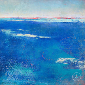 "Coastal blue abstract beach art ""Aegean Crossing,"" downloadable art by Victoria Primicias"