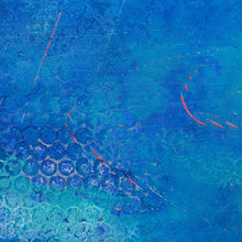 "Load image into Gallery viewer, Closeup detail of coastal blue abstract seascape painting""Aegean Crossing,"" downloadable art by Victoria Primicias"