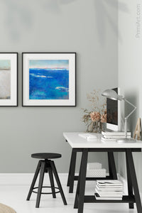 "Coastal blue abstract beach art ""Aegean Crossing,"" digital download by Victoria Primicias, decorates the office."